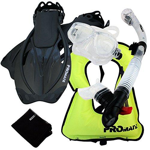 シュノーケリング マリンスポーツ 【送料無料】Promate 759001-ClrBk-SM Snorkeling Vest Mask Snorkel Fins Combo Setシュノーケリング マリンスポーツ