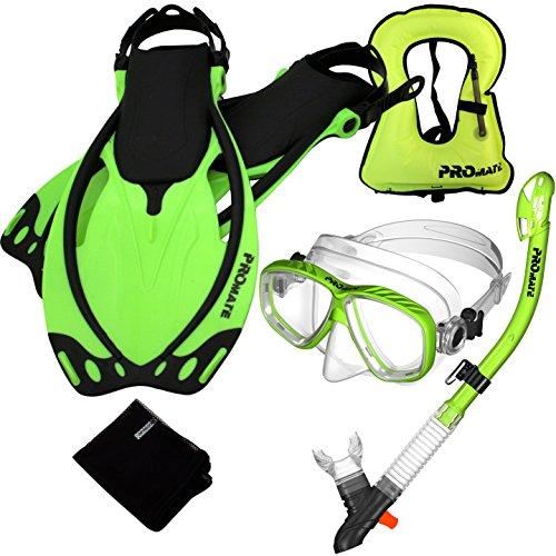シュノーケリング マリンスポーツ Promate 759001-Green-SM Snorkeling Vest Mask Snorkel Fins Combo Setシュノーケリング マリンスポーツ