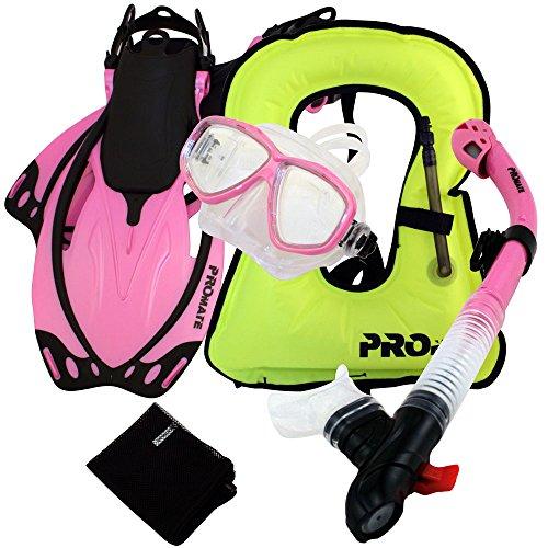 シュノーケリング マリンスポーツ Promate 759001-Pink-MLXL Snorkeling Vest Mask Snorkel Fins Combo Setシュノーケリング マリンスポーツ