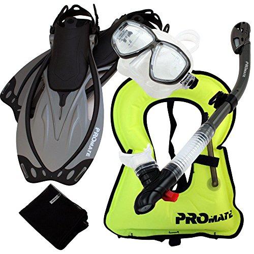 シュノーケリング マリンスポーツ 【送料無料】Promate 759001-Ti-MLXL Snorkeling Vest Mask Snorkel Fins Combo Setシュノーケリング マリンスポーツ