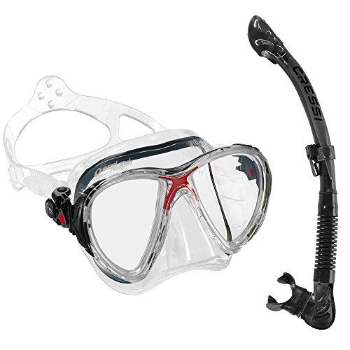 シュノーケリング マリンスポーツ CR-DS336080-ES258055 Cressi Big Eyes Evolution Mask and Alpha Ultra Dry Snorkel Combo, Clear/Redシュノーケリング マリンスポーツ CR-DS336080-ES258055