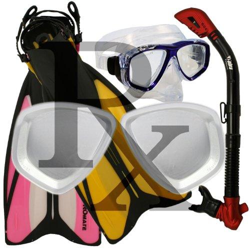シュノーケリング マリンスポーツ ForcePace Fins Dry Snorkel Scuba Diving Purge Mask Snorkeling Set, Rx, SMシュノーケリング マリンスポーツ