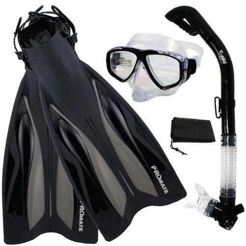 シュノーケリング マリンスポーツ PROMATE ForcePace Fins Dry Snorkel Scuba Diving Purge Mask Snorkeling Set, TBK, SMシュノーケリング マリンスポーツ
