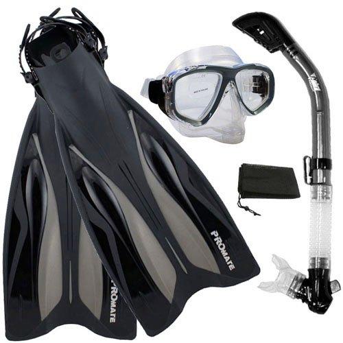 シュノーケリング マリンスポーツ PROMATE ForcePace Fins Dry Snorkel Scuba Diving Purge Mask Snorkeling Set, Titanium, SMシュノーケリング マリンスポーツ