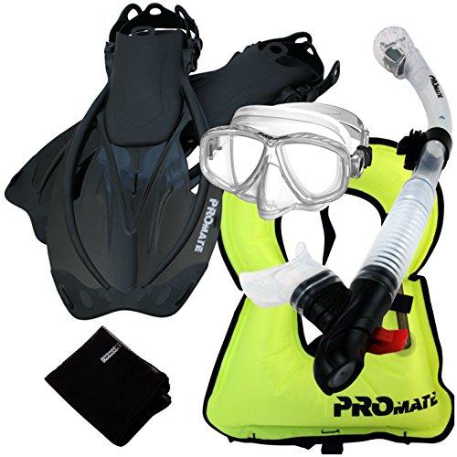 シュノーケリング マリンスポーツ 【送料無料】859001-ClrwBk-MLXL, Snorkeling Vest Purge Mask Dry Snorkel Fins Mesh Bag Setシュノーケリング マリンスポーツ