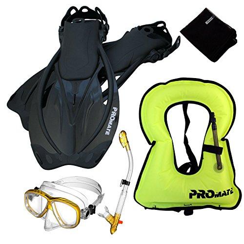 シュノーケリング マリンスポーツ 【送料無料】859001-GDN/CLR-MLXL, Snorkeling Vest Purge Mask Dry Snorkel Fins Mesh Bag Setシュノーケリング マリンスポーツ