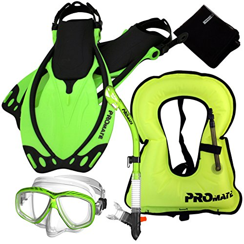 シュノーケリング マリンスポーツ Promate 859001-Green-SM-Snorkeling Vest Mask Dry Snorkel Fins Mesh Gear Bag Setシュノーケリング マリンスポーツ
