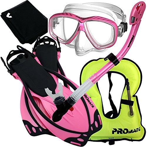 シュノーケリング マリンスポーツ 【送料無料】859001-Pink-SM, Snorkeling Vest Purge Mask Dry Snorkel Fins Mesh Bag Setシュノーケリング マリンスポーツ