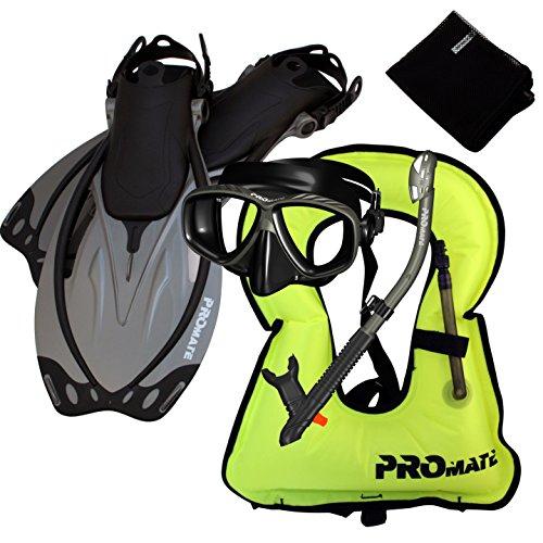 シュノーケリング マリンスポーツ 859001-Ti/Bk-MLXL, Snorkeling Vest Mask Dry Snorkel Fins Mesh Gear Bag Setシュノーケリング マリンスポーツ