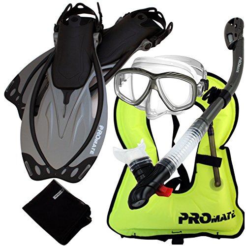 シュノーケリング マリンスポーツ 【送料無料】Promate 859001-Titanium-SM, Snorkel Vest Mask Snorkel Fins Mesh Bag Gear Setシュノーケリング マリンスポーツ