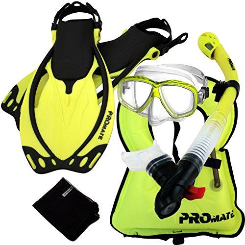 シュノーケリング マリンスポーツ 859001-Yel-MLXL, Snorkeling Vest PURGE Mask Dry Snorkel Fins Mesh Bag Setシュノーケリング マリンスポーツ