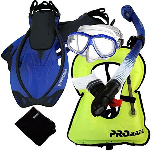 シュノーケリング マリンスポーツ 859001-t.Blue-SMSnorkeling Vest PURGE Mask Dry Snorkel Fins Mesh Bag Setシュノーケリング マリンスポーツ
