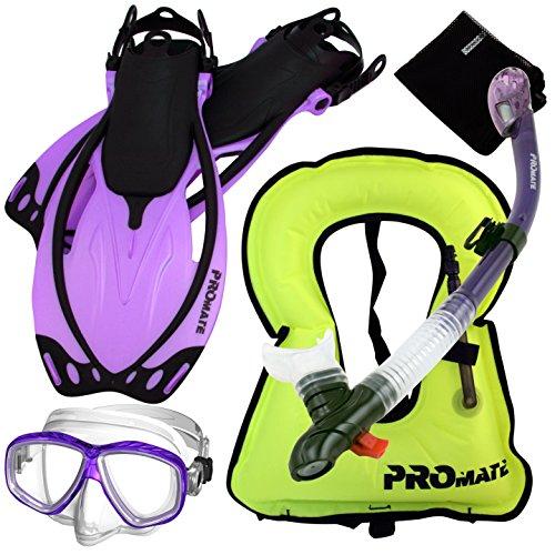シュノーケリング マリンスポーツ 【送料無料】859001-t.Pur-SM, Snorkeling Vest Purge Mask Dry Snorkel Fins Mesh Bag Setシュノーケリング マリンスポーツ