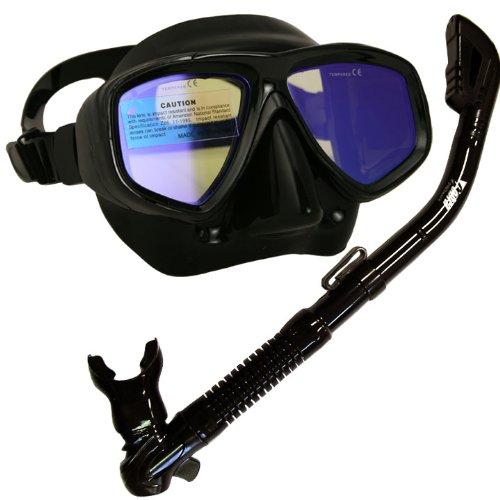 シュノーケリング マリンスポーツ Promate Snorkeling Scuba Dive Dry Snorkel Mask w/Color Correction Lenses Gear Set, AB, Yellow Lensシュノーケリング マリンスポーツ