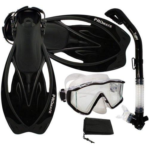 シュノーケリング マリンスポーツ Promate Snorkeling Panoramic Mask Dry Snorkel Scuba Dive Fins Set, Black, S/Mシュノーケリング マリンスポーツ