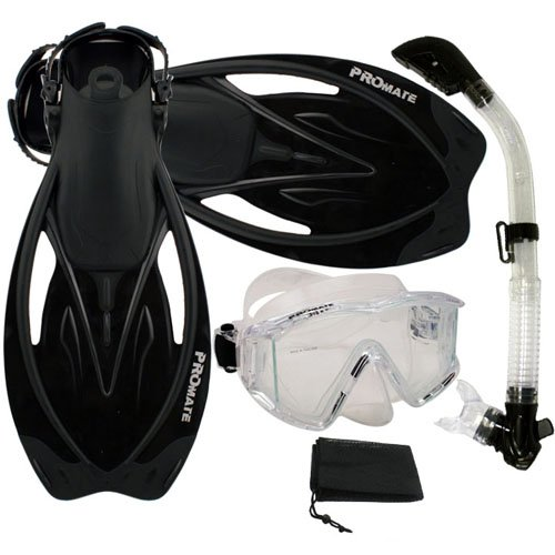 シュノーケリング マリンスポーツ Promate Snorkeling Panoramic Mask Dry Snorkel Scuba Dive Fins Set, ClrWBk, S/Mシュノーケリング マリンスポーツ