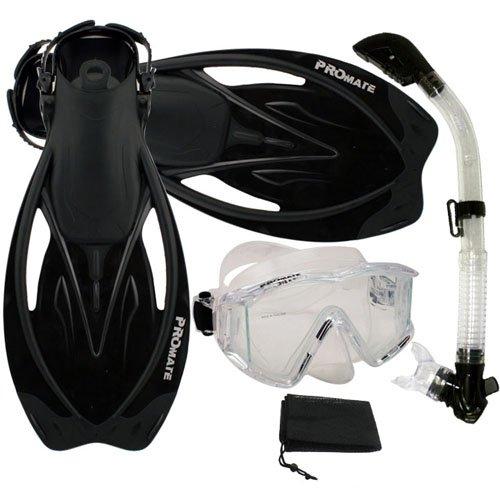 シュノーケリング マリンスポーツ Promate Snorkeling Panoramic Mask Dry Snorkel Scuba Dive Fins Set, ClrWBk, ML/XLシュノーケリング マリンスポーツ