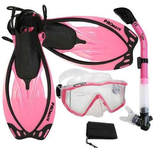シュノーケリング マリンスポーツ Promate Snorkeling Panoramic Mask Dry Snorkel Scuba Dive Fins Set, Pink, ML/XLシュノーケリング マリンスポーツ