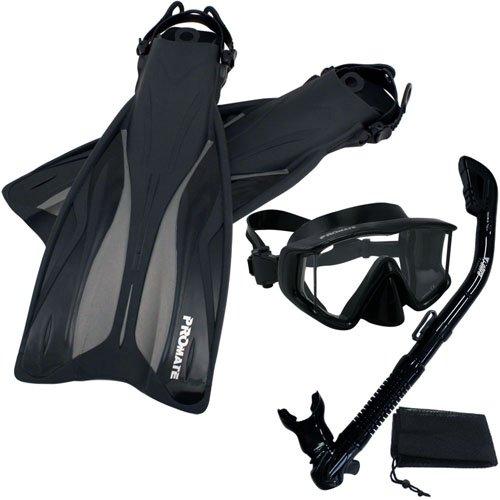 シュノーケリング マリンスポーツ Promate Deluxe Snorkeling Panoramic Mask Dry Snorkel Scuba Dive Fins Set, AllBlack, S/Mシュノーケリング マリンスポーツ