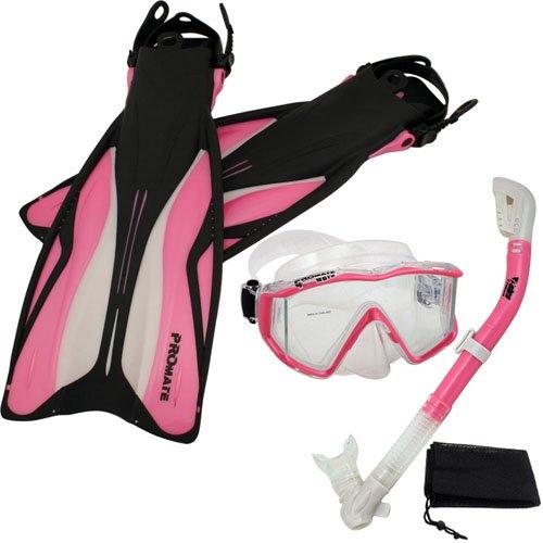 シュノーケリング マリンスポーツ 【送料無料】Promate Deluxe Snorkeling Panoramic Mask Dry Snorkel Scuba Dive Fins Set, Pink, ML/XLシュノーケリング マリンスポーツ