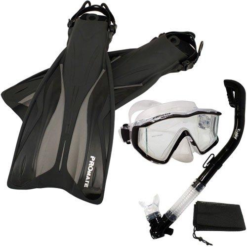 シュノーケリング マリンスポーツ 【送料無料】Promate Deluxe Snorkeling Panoramic Mask Dry Snorkel Scuba Dive Fins Set, Black, S/Mシュノーケリング マリンスポーツ