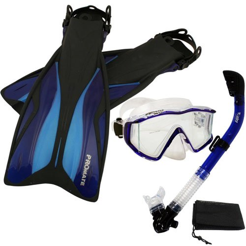 シュノーケリング マリンスポーツ 【送料無料】Promate Deluxe Snorkeling Panoramic Mask Dry Snorkel Scuba Dive Fins Set, Blue, S/Mシュノーケリング マリンスポーツ