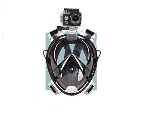 シュノーケリング マリンスポーツ Shokoi 180°Full Face Snorkel Mask with Panoramic View Anti-Fog Anti-Leak with Action Camera Mount (BLACK)シュノーケリング マリンスポーツ