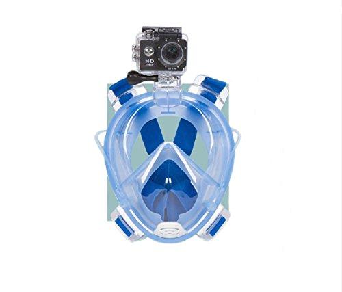 シュノーケリング マリンスポーツ Shokoi 180°Full Face Snorkel Mask with Panoramic View Anti-Fog Anti-Leak with Action Camera Mount (BLUE)シュノーケリング マリンスポーツ