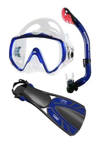 シュノーケリング マリンスポーツ Tilos Titanica Jr. Mask S.O.S. Whistle Jr. Snorkel and Quill Jr Fins (Medium/Large, Blue)シュノーケリング マリンスポーツ