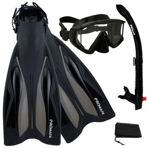 シュノーケリング マリンスポーツ 【送料無料】PROMATE Deluxe Side-View Mask Semi-Dry Snorkel Snorkeling Fins Set, ABK, S/Mシュノーケリング マリンスポーツ