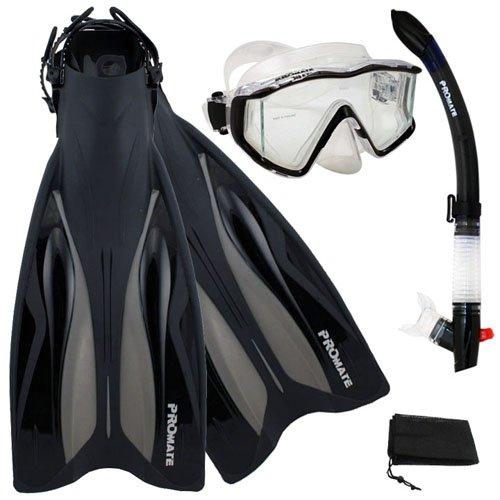 シュノーケリング マリンスポーツ PROMATE Deluxe Side-View Mask Semi-Dry Snorkel Snorkeling Fins Set, Black, ML/XLシュノーケリング マリンスポーツ