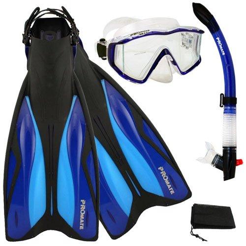 シュノーケリング マリンスポーツ 【送料無料】PROMATE Deluxe Side-View Mask Semi-Dry Snorkel Snorkeling Fins Set, Blue, ML/XLシュノーケリング マリンスポーツ