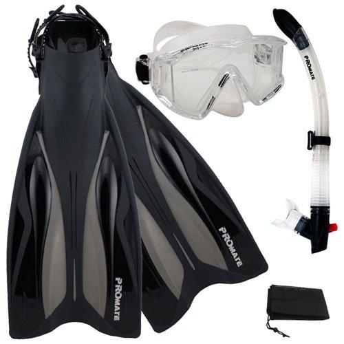 シュノーケリング マリンスポーツ PROMATE Deluxe Side-View Mask Semi-Dry Snorkel Snorkeling Fins Set, ClrWBk, ML/XLシュノーケリング マリンスポーツ