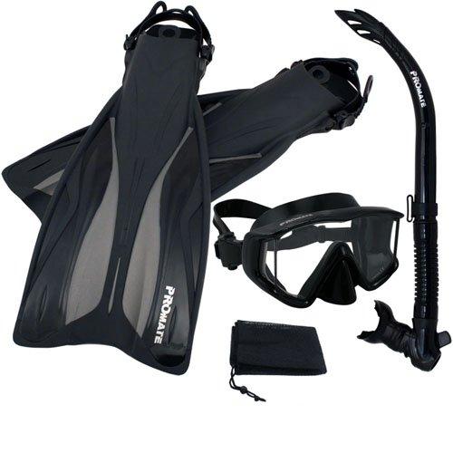 シュノーケリング マリンスポーツ PROMATE Side-View Mask Semi-Dry Snorkel Snorkeling Fins, ABK, S/Mシュノーケリング マリンスポーツ