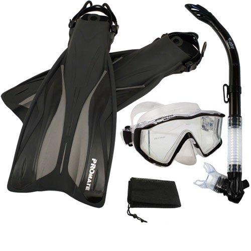 シュノーケリング マリンスポーツ PROMATE Side-View Mask Semi-Dry Snorkel Snorkeling Fins, Black, ML/XLシュノーケリング マリンスポーツ