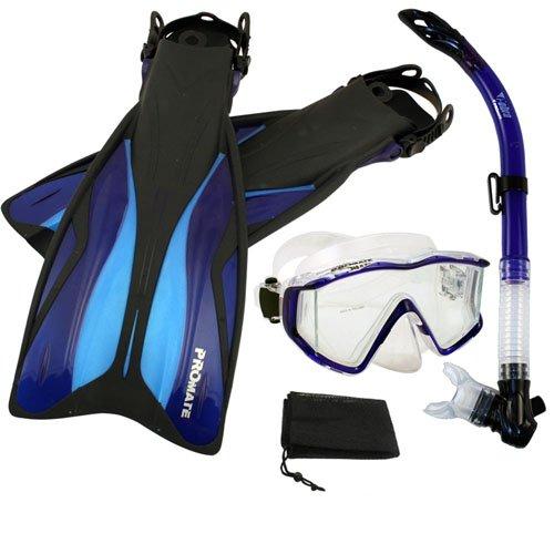 シュノーケリング マリンスポーツ PROMATE Side-View Mask Semi-Dry Snorkel Snorkeling Fins, Blue, ML/XLシュノーケリング マリンスポーツ