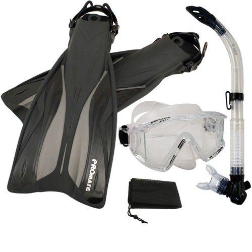 シュノーケリング マリンスポーツ PROMATE Side-View Mask Semi-Dry Snorkel Snorkeling Fins, ClrWBk, ML/XLシュノーケリング マリンスポーツ