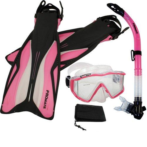 シュノーケリング マリンスポーツ PROMATE Side-View Mask Semi-Dry Snorkel Snorkeling Fins, PkWht, S/Mシュノーケリング マリンスポーツ