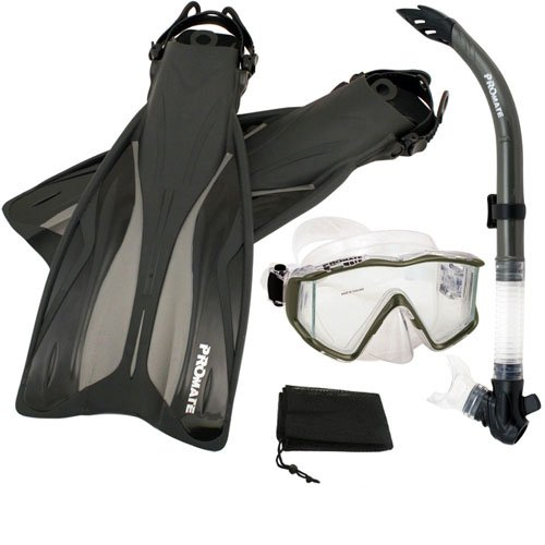 シュノーケリング マリンスポーツ PROMATE Side-View Mask Semi-Dry Snorkel Snorkeling Fins, Titanium, S/Mシュノーケリング マリンスポーツ