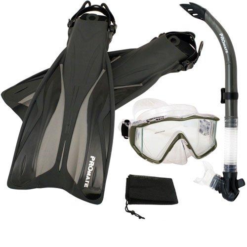 シュノーケリング マリンスポーツ PROMATE Side-View Mask Semi-Dry Snorkel Snorkeling Fins, Titanium, ML/XLシュノーケリング マリンスポーツ