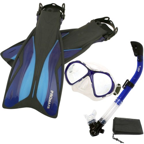 シュノーケリング マリンスポーツ 【送料無料】PROMATE Deluxe Snorkeling Gear Scuba Diving Fins Mask Dry Snorkel Set, Blue, MLXLシュノーケリング マリンスポーツ