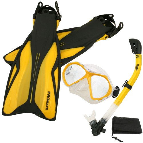 シュノーケリング マリンスポーツ 【送料無料】PROMATE Deluxe Snorkeling Gear Scuba Diving Fins Mask Dry Snorkel Set, GoldenRod, SMシュノーケリング マリンスポーツ