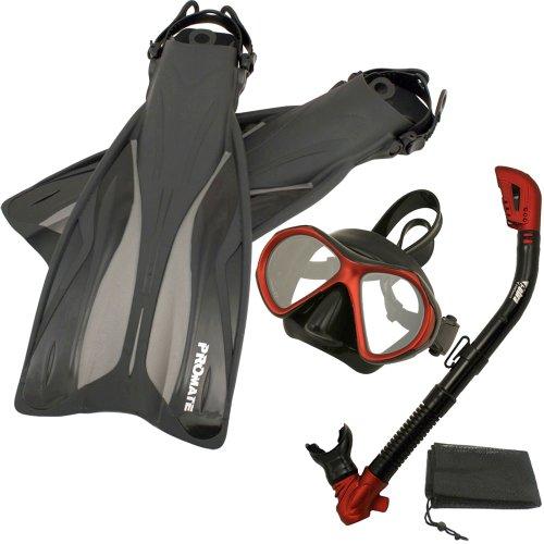 シュノーケリング マリンスポーツ PROMATE Deluxe Snorkeling Gear Scuba Diving Fins Mask Dry Snorkel Set, RedBlack, MLXLシュノーケリング マリンスポーツ