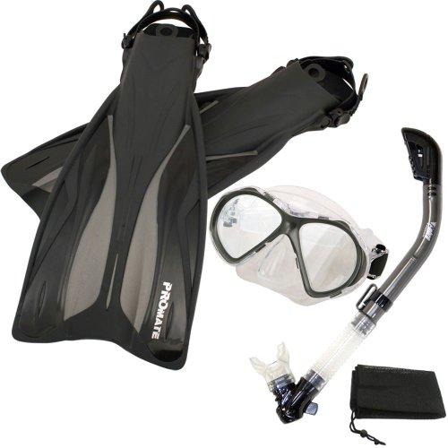 シュノーケリング マリンスポーツ PROMATE Deluxe Snorkeling Gear Scuba Diving Fins Mask Dry Snorkel Set, Titanium, MLXLシュノーケリング マリンスポーツ