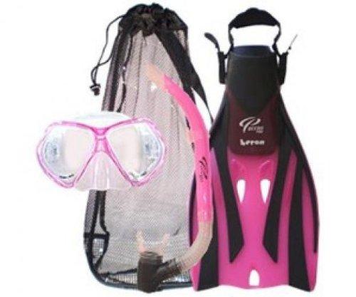 シュノーケリング マリンスポーツ Oceanic Ocean Pro Bat Mask, Oasis Snorkel, Heron Fins & Bag - Pink, SM/MDシュノーケリング マリンスポーツ