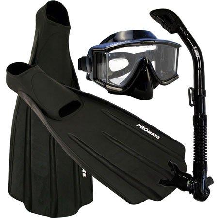 シュノーケリング マリンスポーツ Snorkeling SIDE-VIEW EDGELESS PURGE Mask DRY Snorkel Fins Gear Set, BkBk, XLシュノーケリング マリンスポーツ