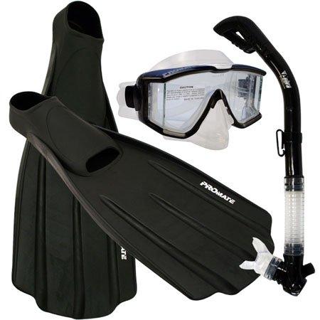 シュノーケリング マリンスポーツ Snorkeling SIDE-VIEW EDGELESS PURGE Mask DRY Snorkel Fins Gear Set, Black, Mシュノーケリング マリンスポーツ