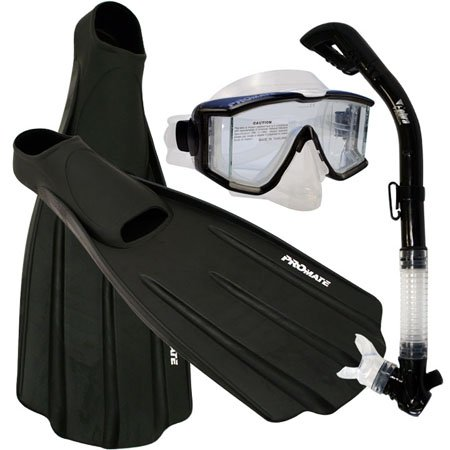 シュノーケリング マリンスポーツ Snorkeling Side-View EDGELESS Purge Mask Dry Snorkel Fins Gear Set, Black, Sシュノーケリング マリンスポーツ