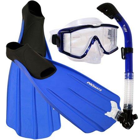 シュノーケリング マリンスポーツ 【送料無料】Snorkeling Side-View EDGELESS Purge Mask Dry Snorkel Fins Gear Set, Blue, Mシュノーケリング マリンスポーツ