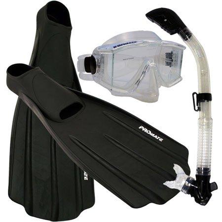 シュノーケリング マリンスポーツ 夏のアクティビティ特集 Snorkeling Side-View EDGELESS Purge Mask Dry Snorkel Fins Gear Set, ClrWBk, Mシュノーケリング マリンスポーツ 夏のアクティビティ特集